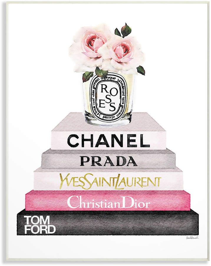 Stupell Book Stack Fashion Candle Pink Rose By Amanda