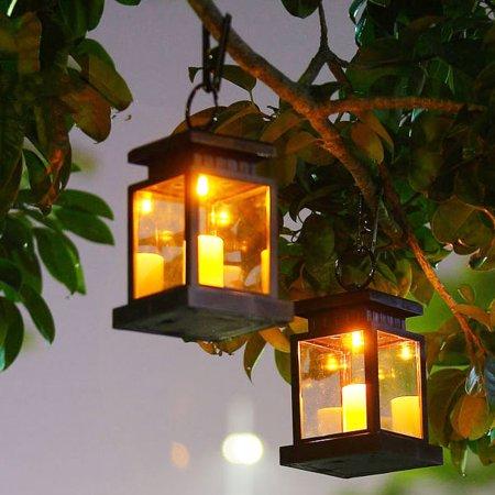 2 Pack Solar Lantern Outdoor Garden Hanging Lantern Waterproof Led Flickering Flameless Candles Mission Lantern For Table Outdoor Party Walmart Com In 2020 Hanging Solar Lights Solar Lanterns Hanging Lanterns
