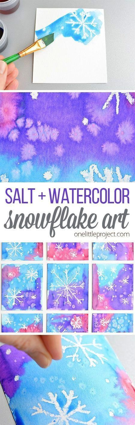 Salt and Watercolor Snowflake Art Project for Kids This magic salt and watercolor snowflake art pro