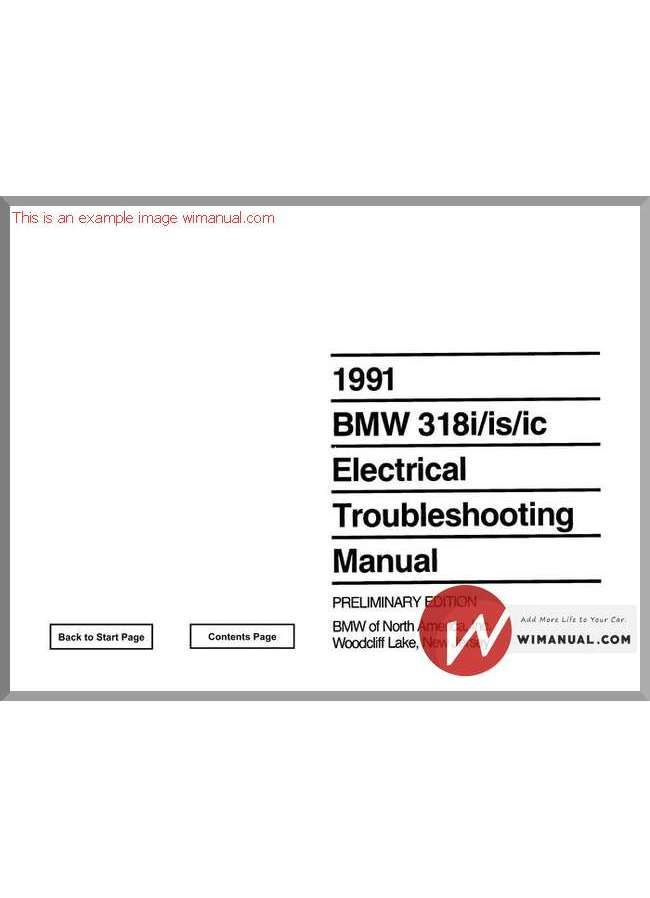 Bmw 318i 318is 318ic 1991electrical Troubleshooting Manual