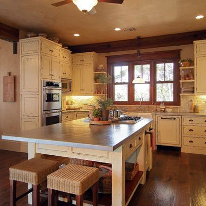 Cream Stained Kitchen Cabinets