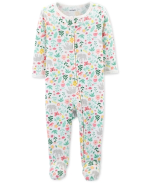 1e8483aaf Carter's Baby Girls Floral-Print Thermal Footed Cotton Coverall - White 3  months