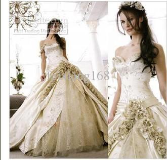 Elegant Wedding Dress One Shoulder Embroidered European