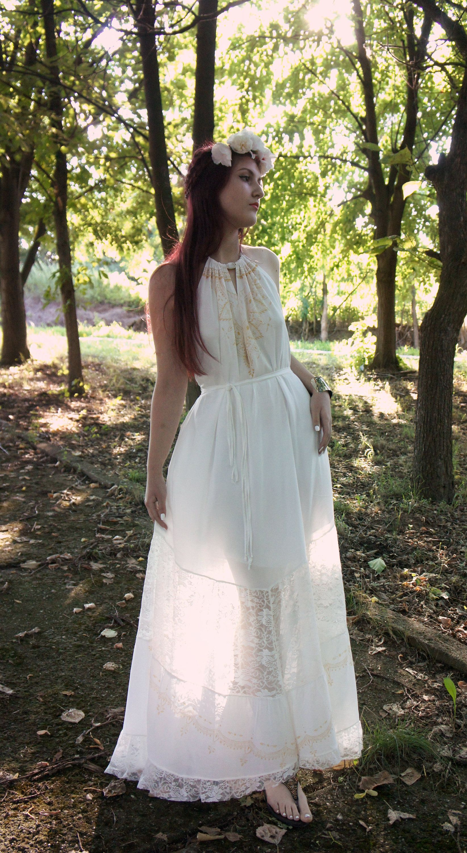 Chiffon wedding dress boho maxi wedding dress flowy chiffon