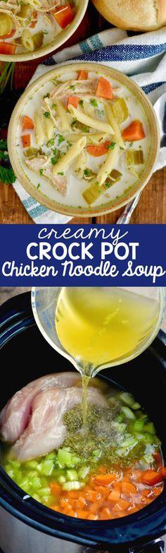 this creamy crock pot creamy chicken noodle soup recipe is