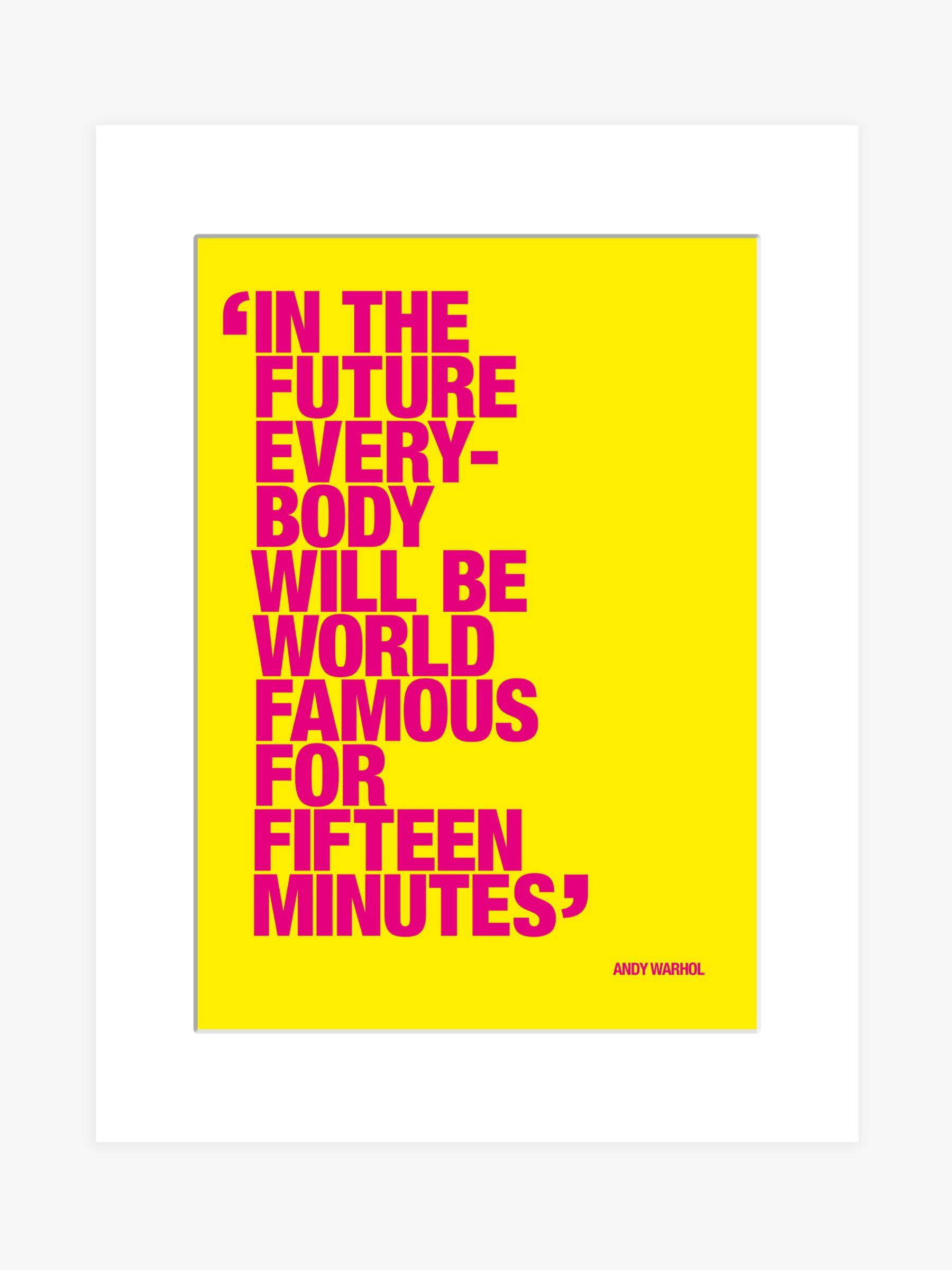 Andy Warhol - Famous For Fifteen Minutes Unframed Print & Mount, 40 x 30cm, Yellow/Pink #andywarhol