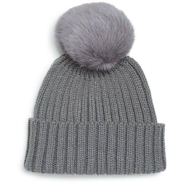 81b87fd1d22 Adrienne Landau Rib-Knit Rabbit Fur Pom-Pom Hat ( 50) ❤ liked on Polyvore  featuring accessories