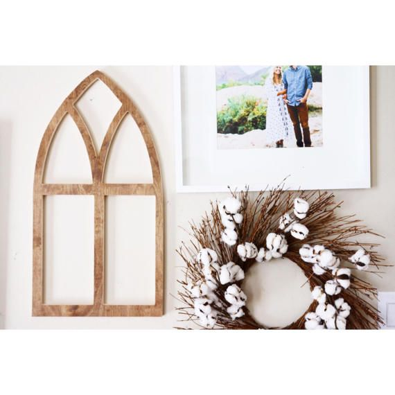 Small Vintage Church Style Wooden Arch Window Frame | Wooden window ...