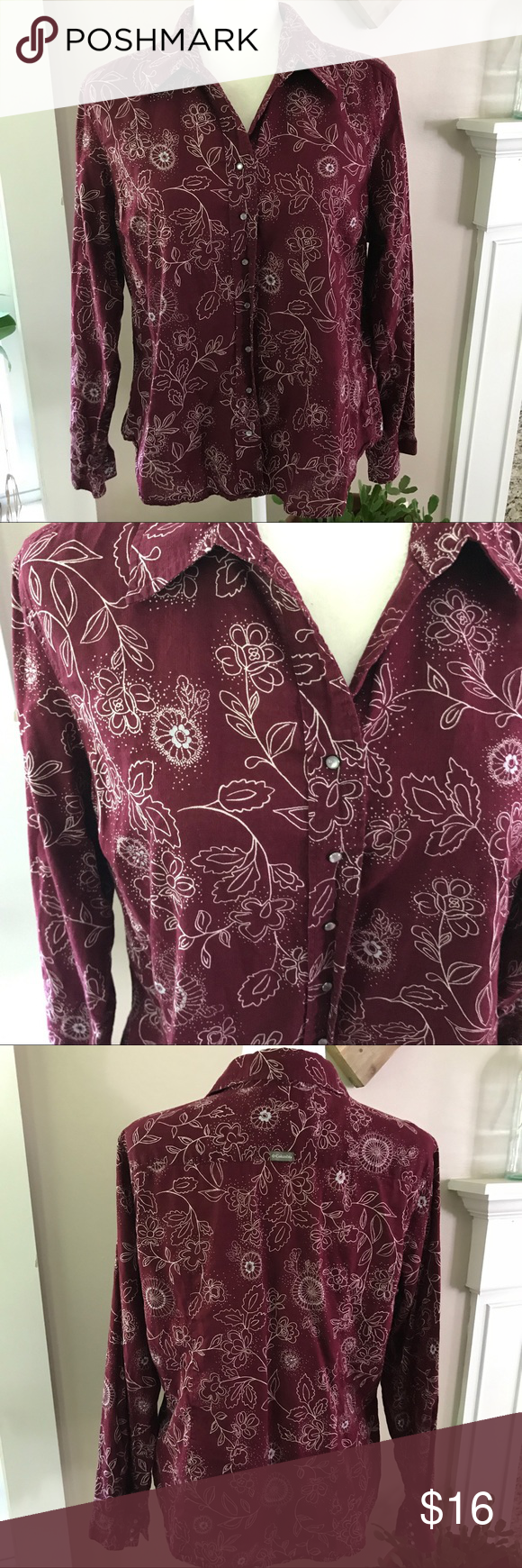 """Columbia Snap Button Up Floral long sleeve shirt 100% cotton Floral design. Snap Button closure. Snap Button closure on cuffs. Maroon/white color. Size XL pit to pit 22 1/2"""" pit to Hem 13"""". Bin 12 Columbia Tops Button Down Shirts"""