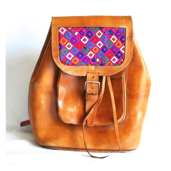 Free Shipping Antiqye Vintage VTG 60s 1960s Guatemalan Guatemala South  American America Leather Woven Tapestry Ethnic Bright Backpack Case cd617d628b0a
