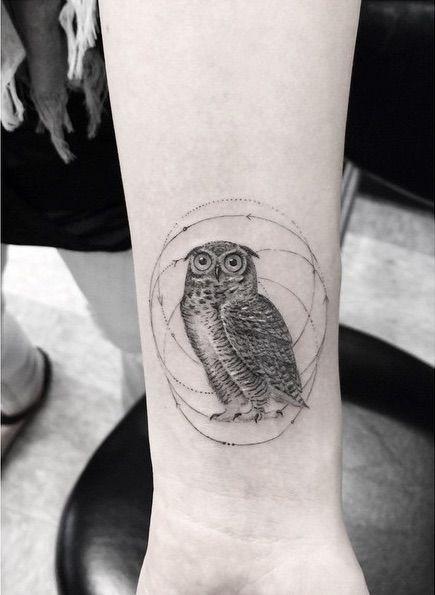 Geometric Fine Line Tattoos By La S Famous Dr Woo Fine Line Tattoos Line Tattoos Geometric Tattoo Bird
