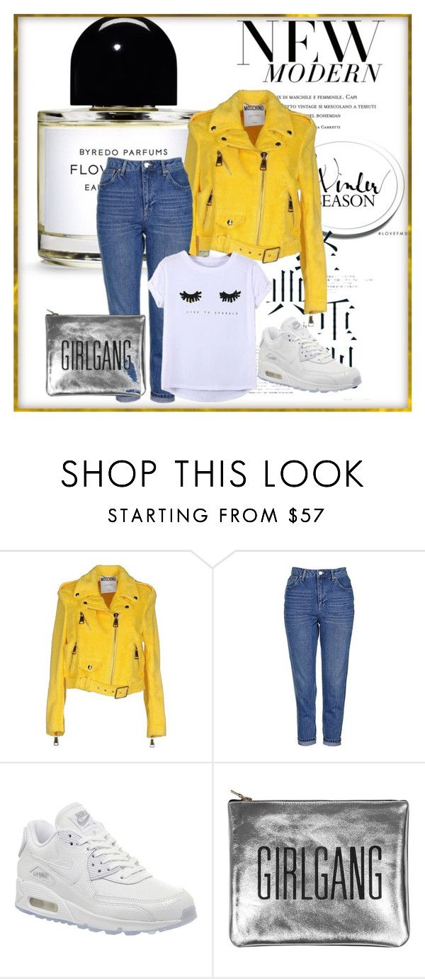 """yellow leather jacket"" by unsuspectedbeauty on Polyvore featuring Moschino, Topshop, NIKE, Chicnova Fashion, yellow, whiteshirt, airmax, momjeans and yellowleatherjacket"