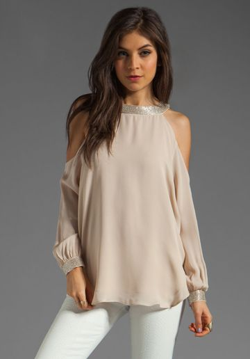 HAUTE HIPPIE Embellished Cold Shoulder Blouse in Buff Silver ... 2f009c101