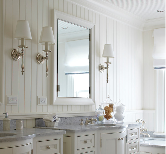 Simple And Spectacular Beadboard In A Vintage Feel Bathroom Beadboard Bathroom Bathrooms Remodel White Vanity Bathroom