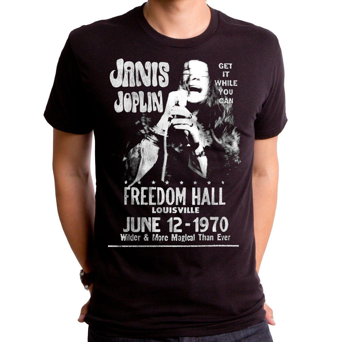 Janis Joplin At The Freedom Hall S S Black Mens Tee Best T Shirt Designs T Shirt Janis Joplin