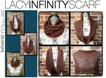 Knitting Scarf Patterns Infinity Scarf : Infinity scarf knitting pattern diy christmas gift lacy cowl wrap