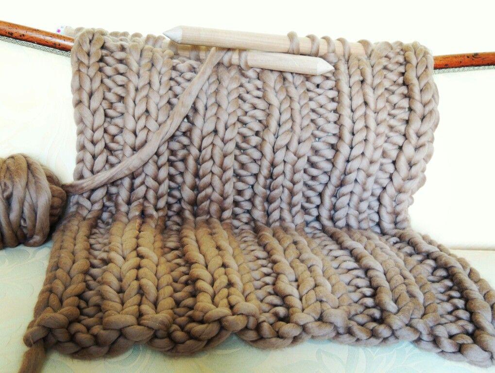 Lap throw in chunky merino yarn