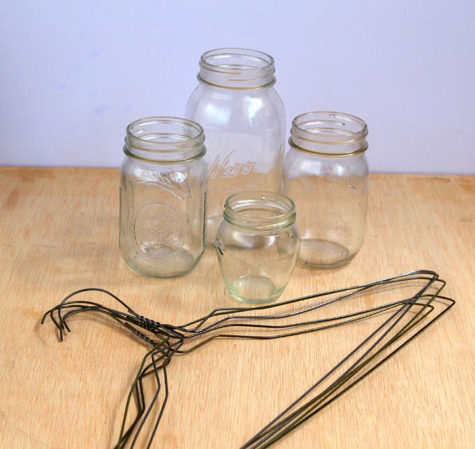 Coat hangers and mason jars turned rustic hanging
