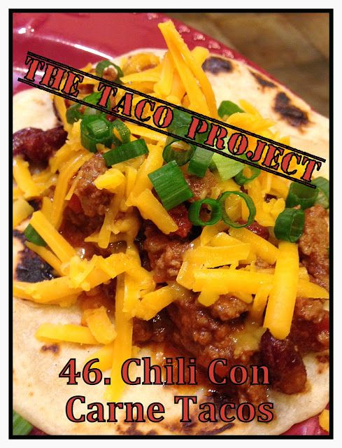 Chili Con Carne Tacos - Here's a new taco recipe based on a very unspicy chili con carne recipe that I remember from my childhood.  I added some extra heat!