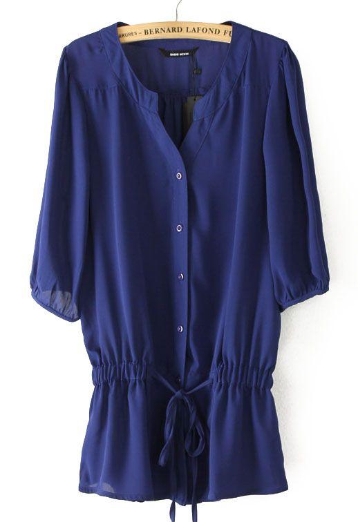 #SheInside Blue Half Sleeve Drawstring Chiffon Blouse