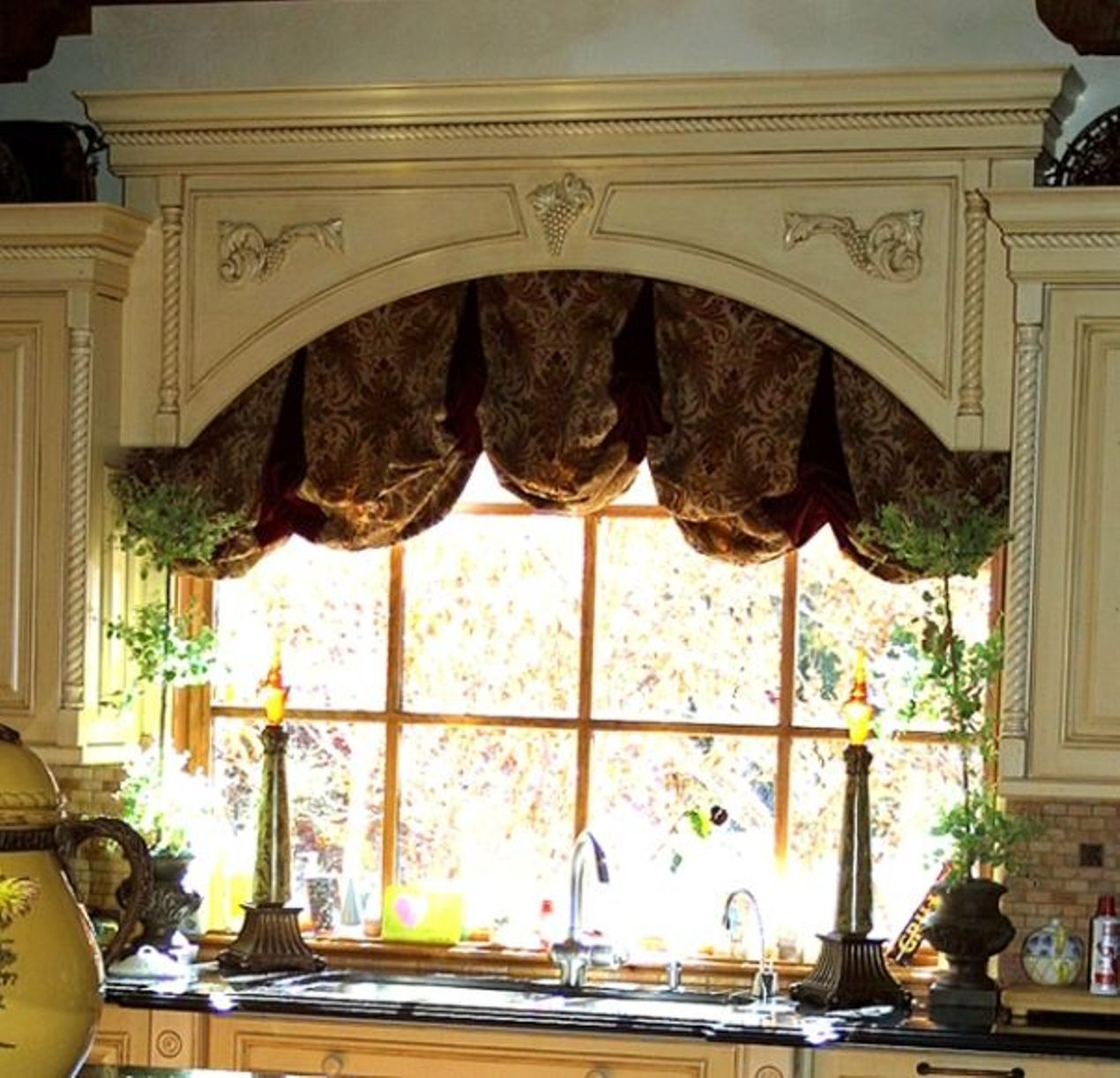 Elegant Kitchen Window Decorated With Large Cornice And