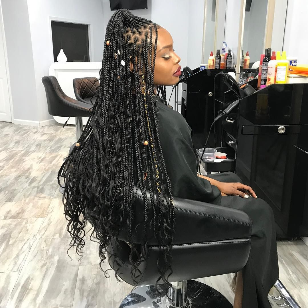 39++ Small knotless braids with curly ends trends