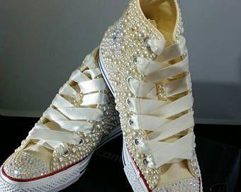 e97265ec543c Nupcial boda Converse Converse - Bling perlas Custom Converse zapatillas de  deporte - Chuck Taylor - All Star Converse zapatillas novia de personalizada