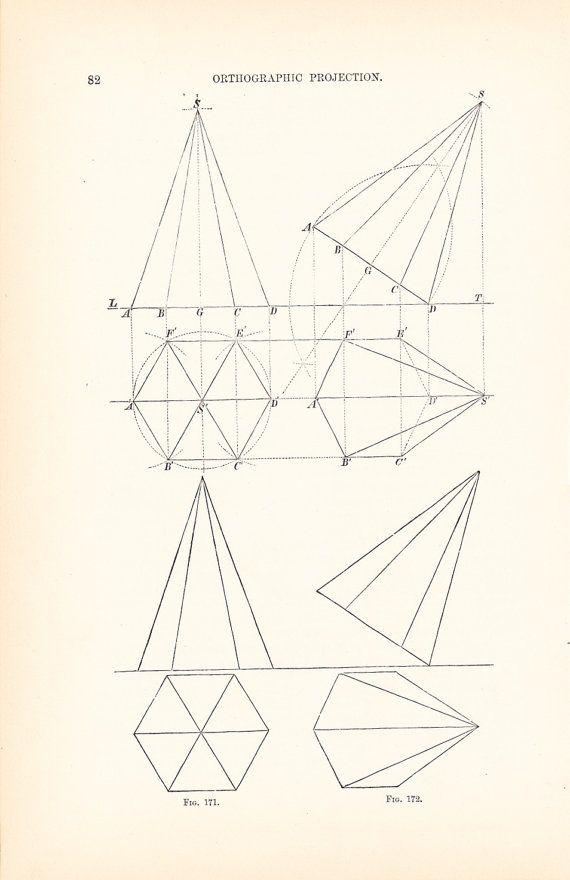 1892 Technical Drawing - Antique Math Geometric Mechanical Drafting - new old blueprint art