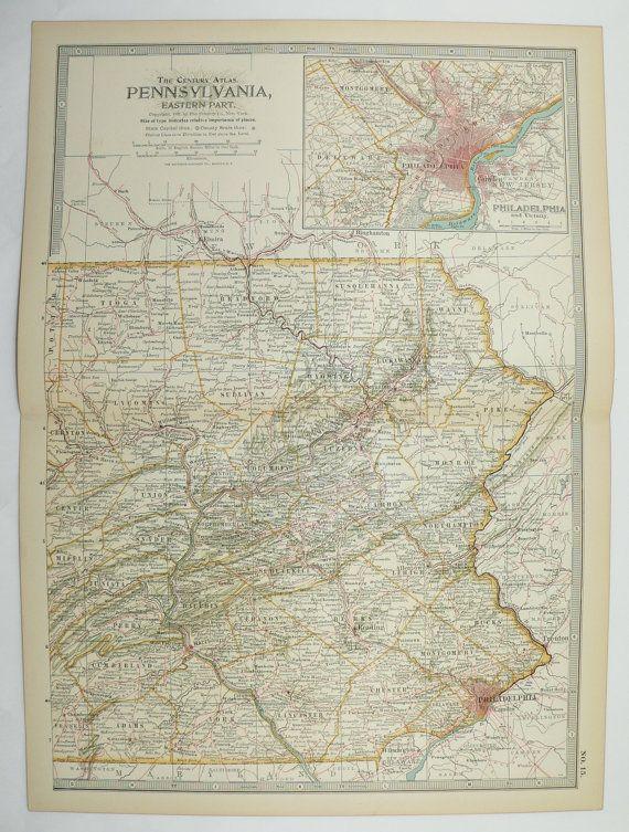 Eastern Pennsylvania Map 1899 State Map Philadelphia Lancaster Pa