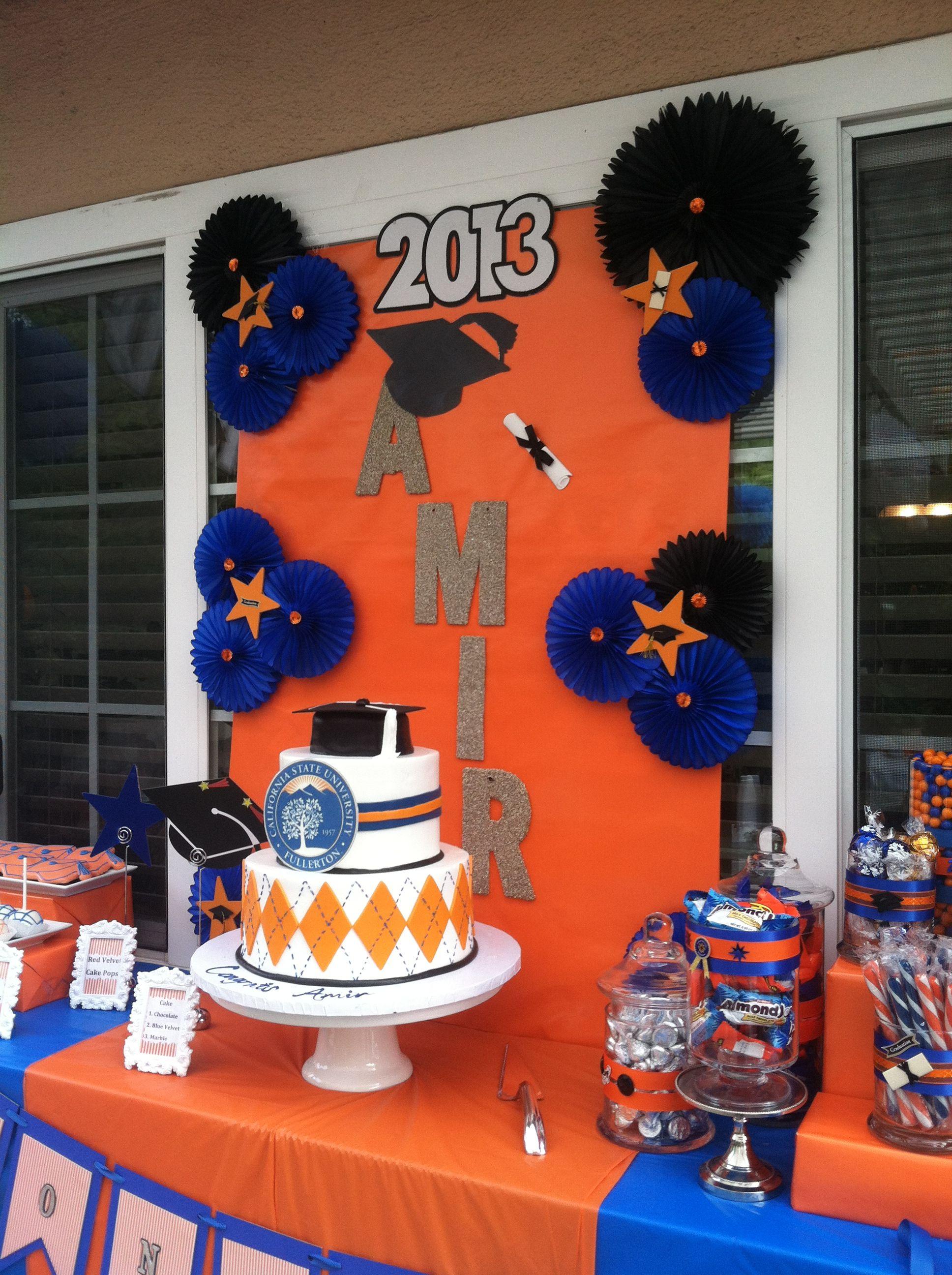 Decoraci n fiesta de grado de colores azul y naranja for Decoracion de grado