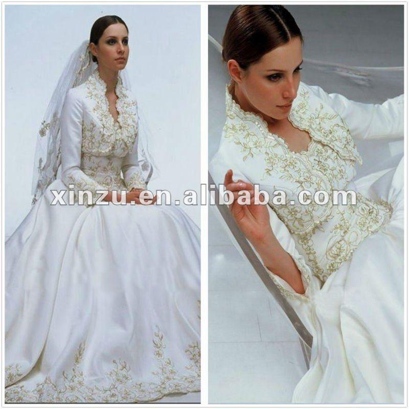2012 Elegant Long Sleeve Embroidery Muslim Wedding Dress | Wedding ...