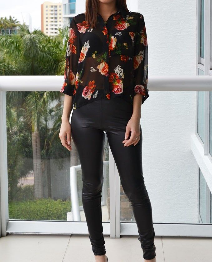 Floral Blouse And Black Leather Leggings | Black And Red Outfit | #outfit #leather #floral # ...