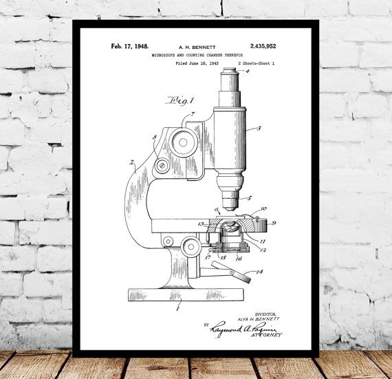Microscope Print, Microscope Poster, Microscope Patent, Microscope - new blueprint software ios