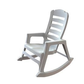Adams Mfg Corp 1 Count White Resin Stackable Patio Rocking Chair With  8080 48