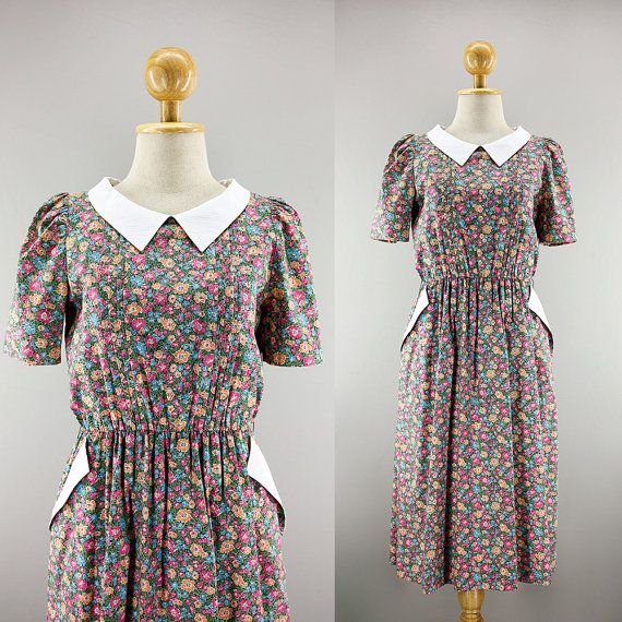 0cae7f714894 70s Japanese Cotton Pink Floral Dress  White by ChiwitChiwaa ...