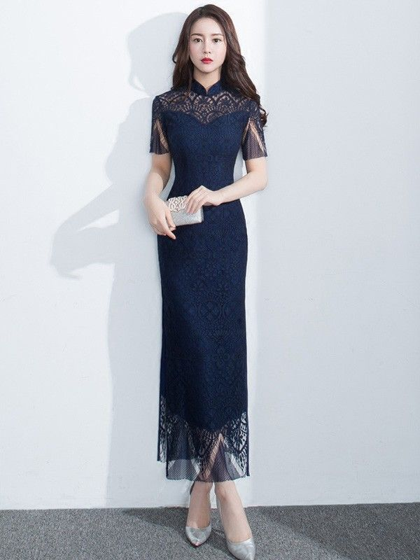 Heavenly Navy Blue Lace Qipao Cheongsam Dress Qipao Cheongsam