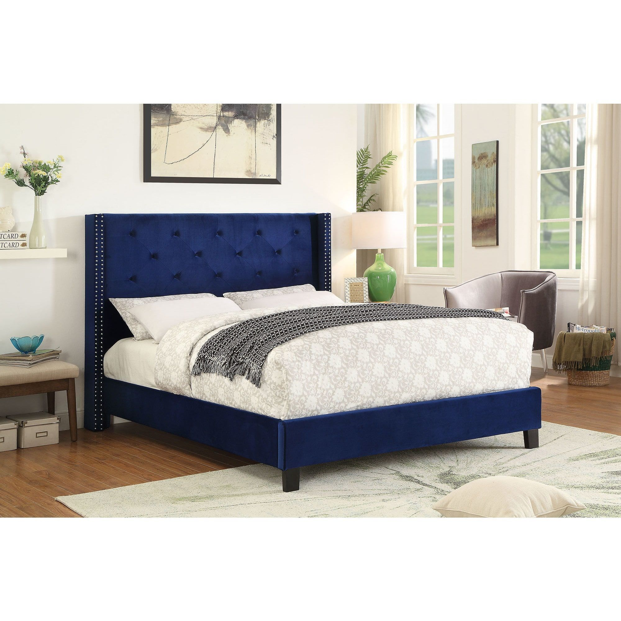 Worldwide Lino Velvet Queen Platform Bed With Stud Detail (Off White