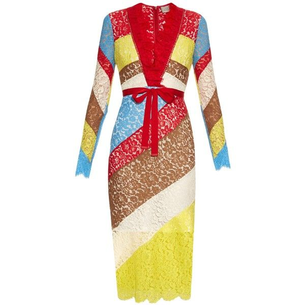 Preen By Thornton Bregazzi Anoushka V-neck lace dress (7.125 BRL) ❤ liked on Polyvore featuring dresses, multi, lace dress, tie waist dress, eyelash lace dress, lace panel dress and lacy dress