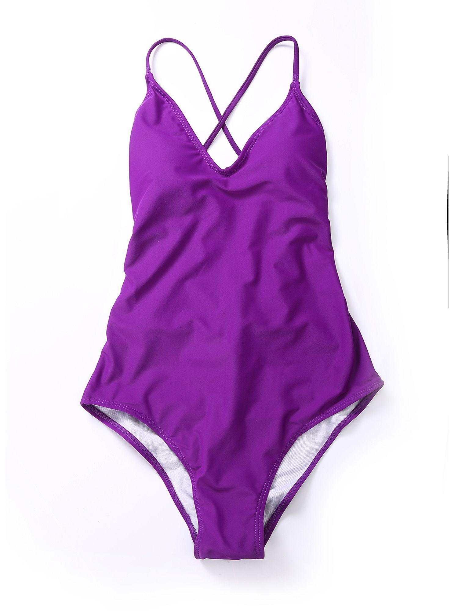 ef5cb72522 Classic Juniors V-Neck One Piece Swimsuit Halter Push Up Padded Monokini  Swimwear Solid Color Bikini Bathing Suits#Swimsuit, #Halter, #Push