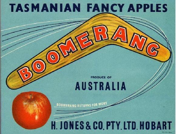 Tasmania Boomerang Apple Crate Label Print Printing Labels Apple Crates Apple Fruit