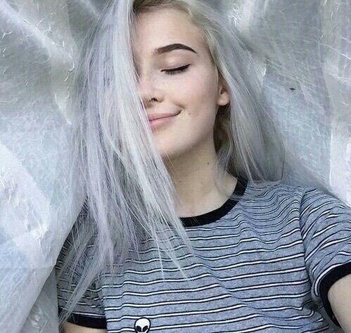 tumblr tumblr girl white hair alien shirt okaysage