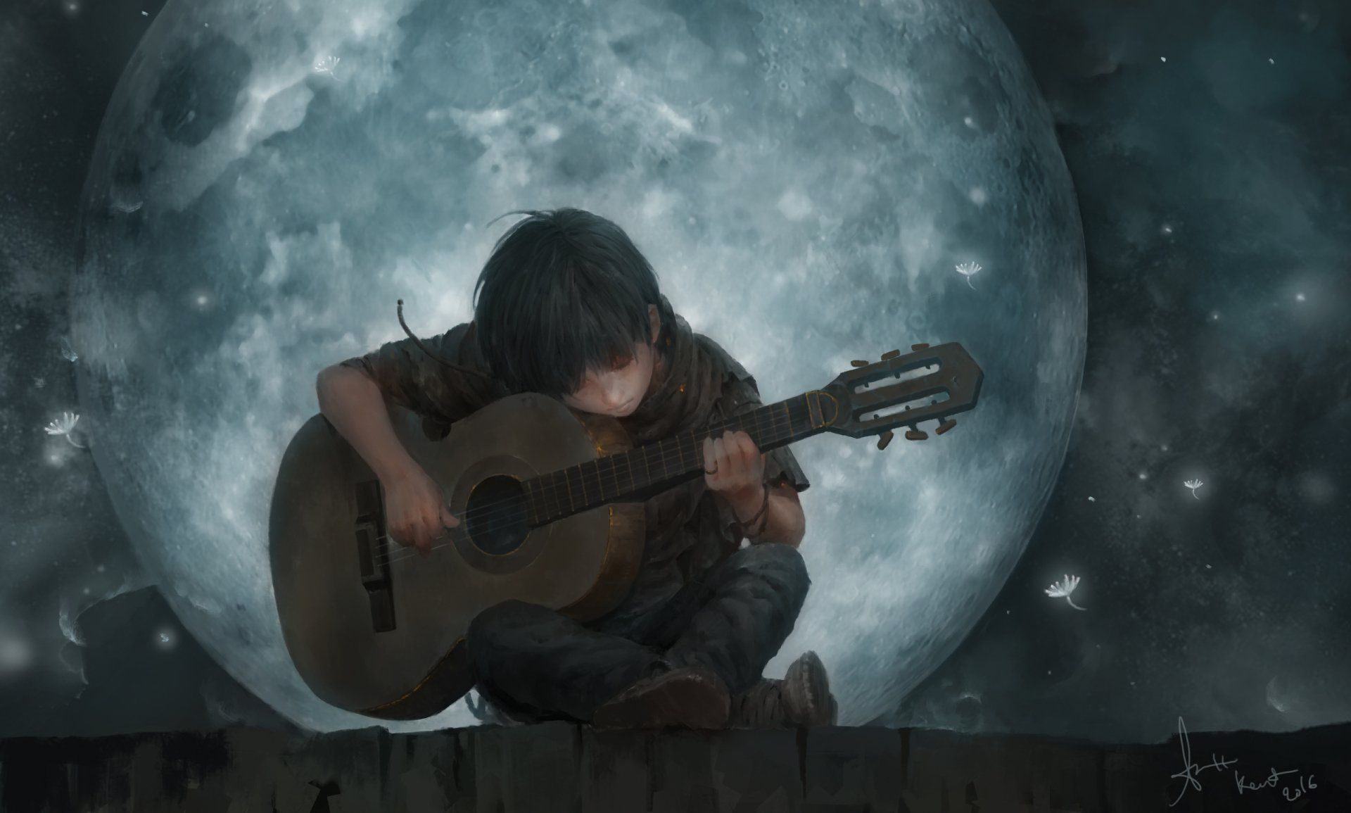 Artistic Child Moon Guitar Boy Wallpaper ảnh Tường Cho điện