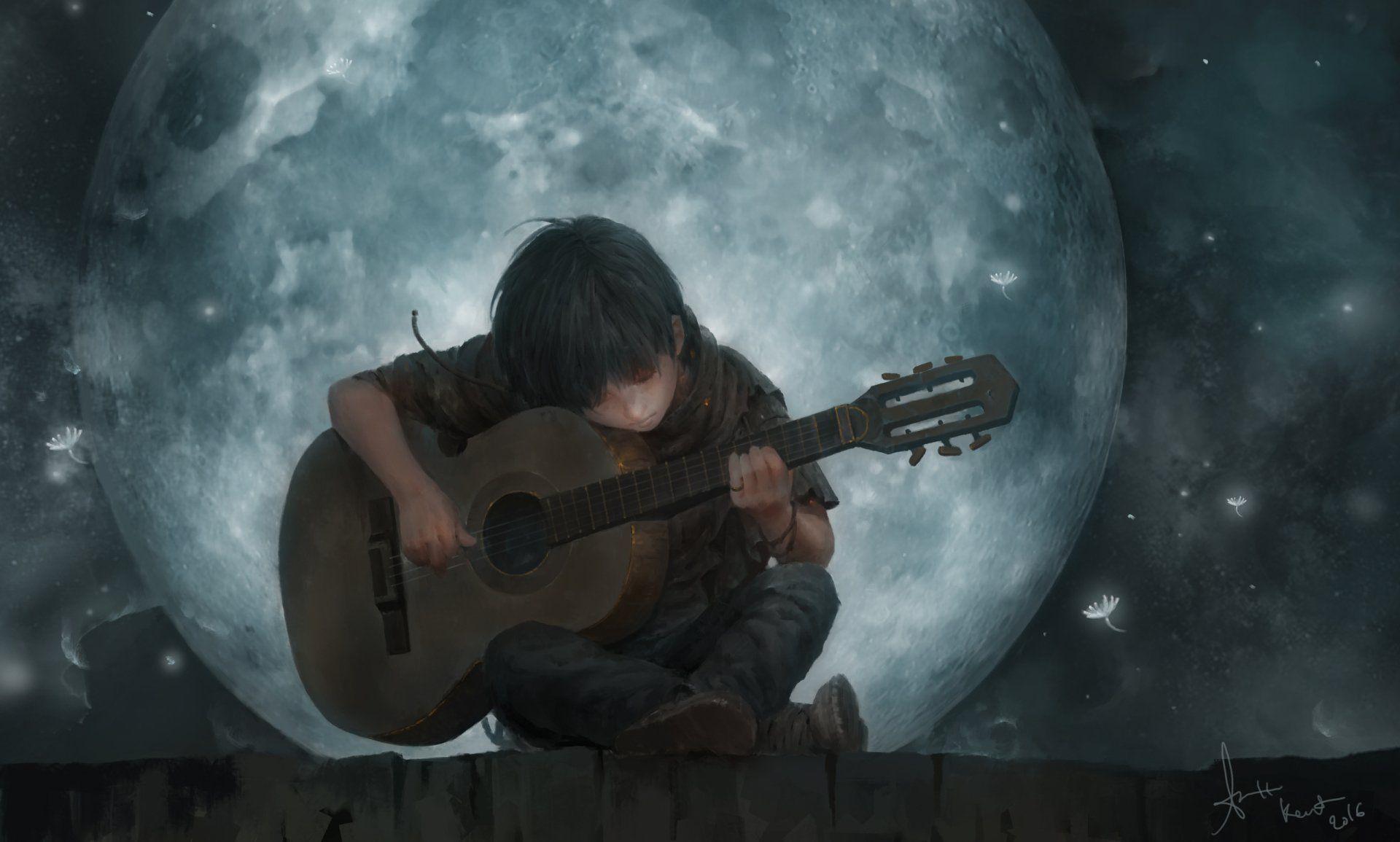 Artistic Child Moon Guitar Boy Wallpaper Anime Scenery Wallpaper Anime Scenery Guitar Art