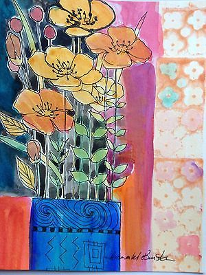 Original Watercolour Painting 'flowers In a vase'signed