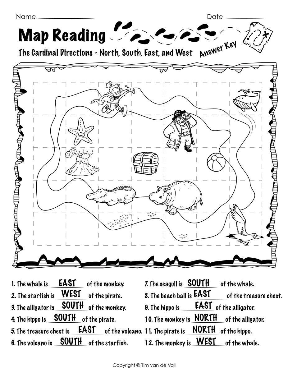 Free Printable Map Reading Worksheets Map Skills Map Skills Worksheets Reading Worksheets Map reading test kindergarten