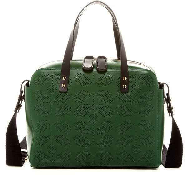 Orla Kiely Caraway Leather Satchel (2.490 NOK) ❤ liked on Polyvore featuring bags, handbags, spruce, green handbag, leather handbags, green satchel handbag, perforated leather purse and perforated leather handbag