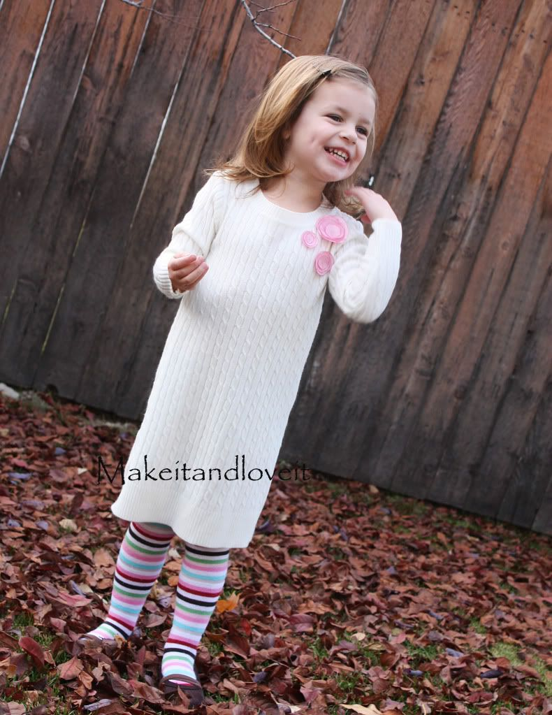 Turn an adult sweater into a dress for a child!