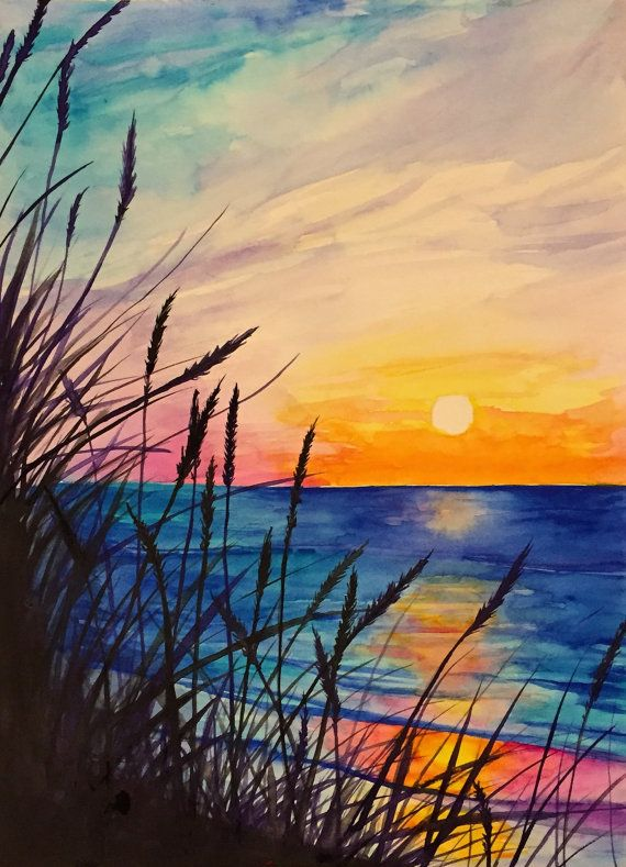 Ocean Watercolor Painting By Rjenningsstudio On Etsy Pinturas