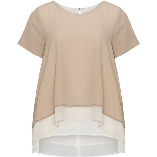Prima Pagina Taupe-Grey / Cream Plus Size Layered chiffon top (6.165 RUB) via Polyvore featuring tops, plus size, color block tops, short sleeve tops, plus size short sleeve tops, flutter-sleeve top и cut out back tops