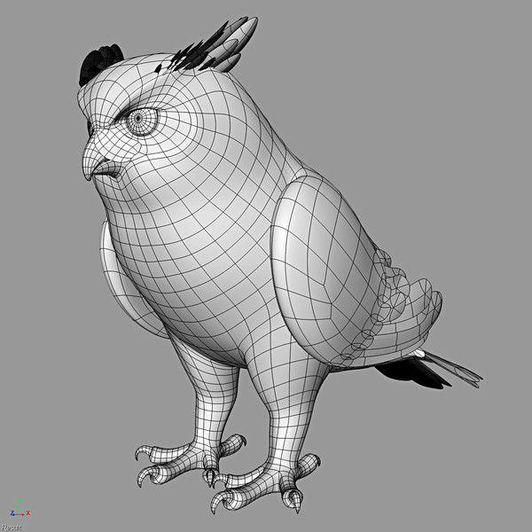 3d model great horned owl folded - Great Horned Owl ( Folded Wings ...